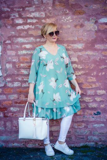 Monalisa zöld alapon virágos muszlin tunika-ruha