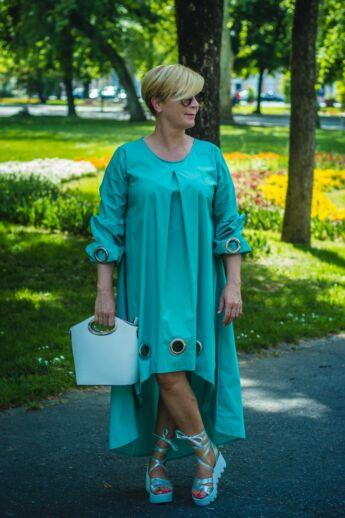 Carina menta zöld pamut-vászon tunika-ruha