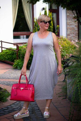Nórina szürke, rugalmas pamut maxi ruha