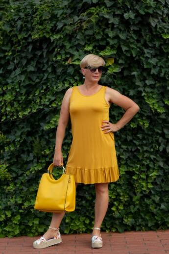 Tara mustár-sárga puha, rugalmas pamut, fodros ruha