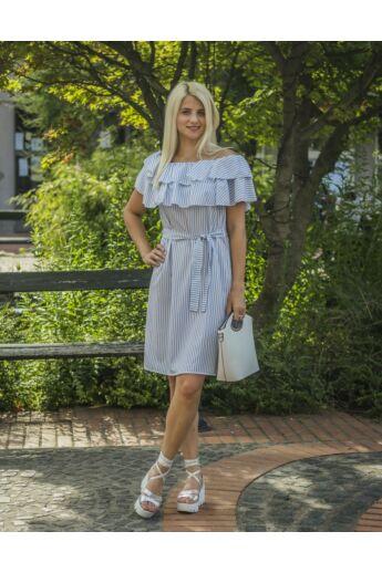 Karen kék-fehér csíkos, vállrésznél fodros ruha