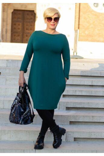 Natalia zöld színű oldalt zsebes tunika-ruha