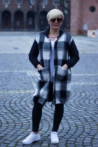Eliza fekete-fehér kockás meleg kapucnis kardigán