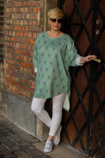 Cara felső, menta zöld szín alapon fehér mintás pamut