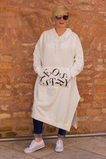 Yesstory fehér színű kapucnis pamut tunika