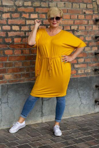 Mustár színű pamut tunika-ruha