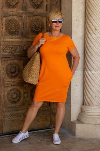 Gloria rövid ujjú, narancs színű pamut tunika