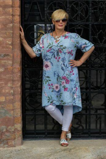 Vivian világoskék alapon virágos len tunika-ruha
