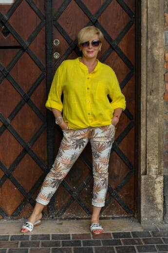 Sárga-narancs színű páfrányos nadrág