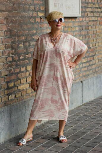 Everly púder színű mintás laza stílusú ruha