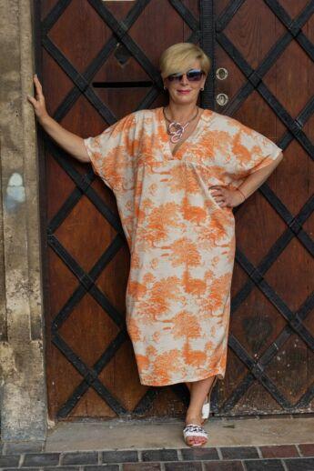 Everly narancs mintás laza stílusú ruha