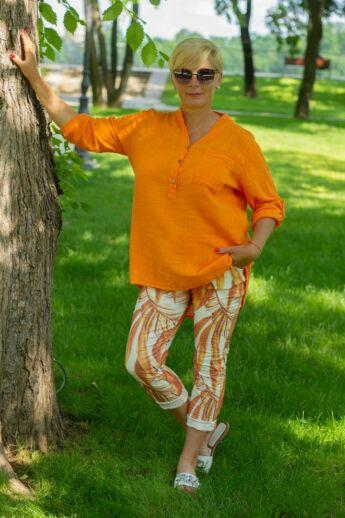 Narancs letisztult stílusú, laza géz ing
