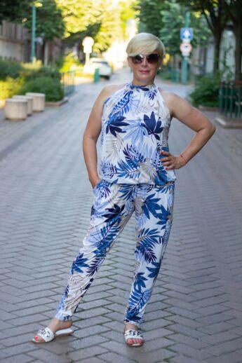 Kék mintás elasztikus nadrág