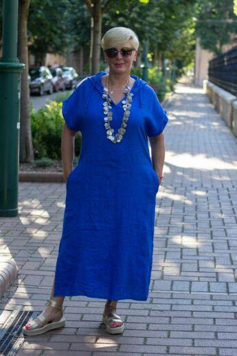 Kék kapucnis len maxi ruha