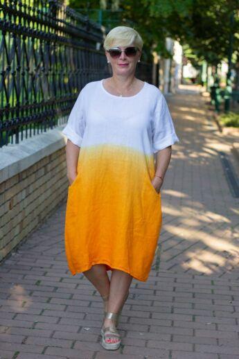 Hélia narancs szín átmenetes len ruha
