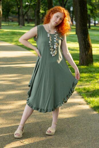 Írisz khaki zöld színű A vonalú pamut ruha