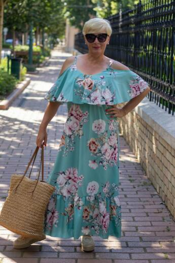 Laura menta zöld alapon virágos maxi ruha