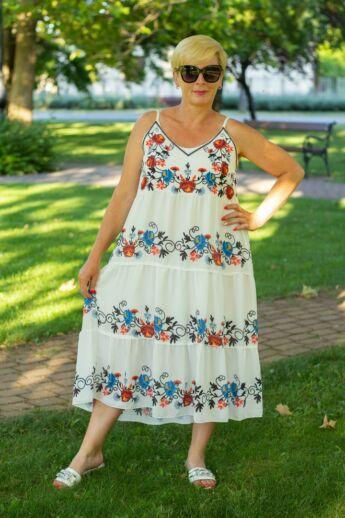 Firenze fehér pántos ruha, hímzett mintával