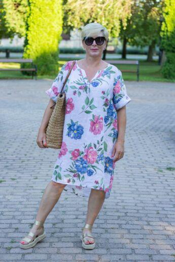 Fehér szín alapon virágos len tunika-ruha