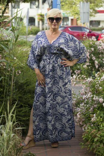 Laura kék mintás hernyóselyem maxi ruha