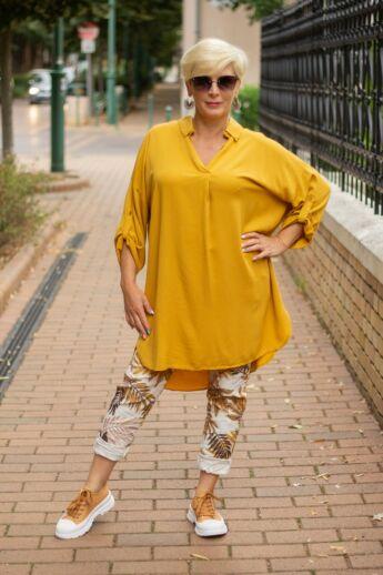 Mustár színű páfrány mintás nadrág