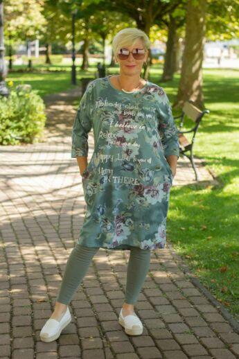 Zöld alapon virágos pamut tunika-ruha