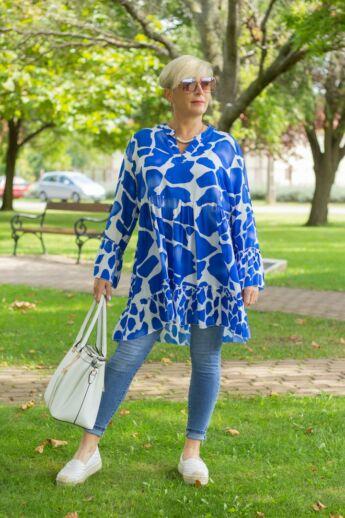 Kék-fehér mintás fodros tunika-ruha
