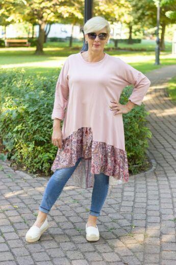 Agatha púder színű tunika-ruha szatén fodorral