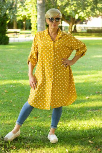 Mustár szín alapon fehér pettyes ing