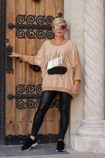 Yulia laza stílusú karamell színű felső