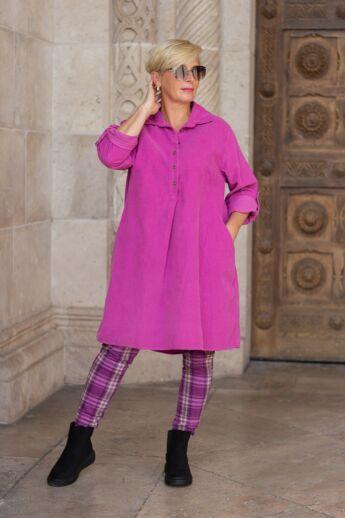 Bordó-pink kockás, gumis derekú rugalmas vastagabb pamut-vászon  nadrág
