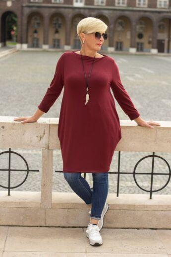 Natalia bordó színű oldalt zsebes tunika-ruha