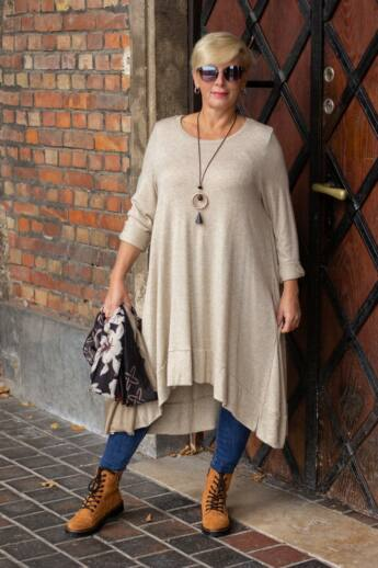 Hunter bézs színű finom kötött tunika pulóver