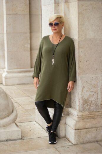 Heléna zöld finom kötött tunika pulóver