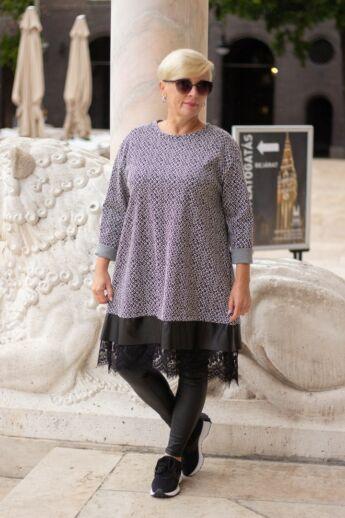 Naomi fekete alapon mintás tunika-ruha