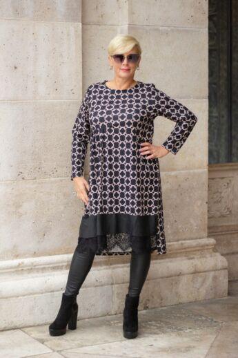 Campbell fekete alapon mintás tunika-ruha