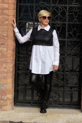 Diandra fehér ing fekete bőrhatású betéttel