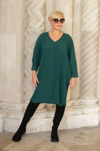 Glam zöld pliszírozott laza stílusú tunika-ruha