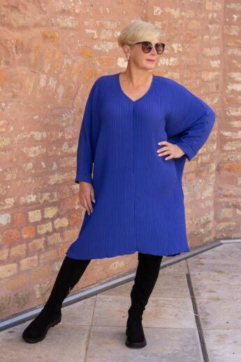 Glam királykék pliszírozott laza stílusú tunika-ruha