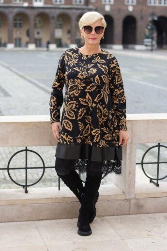 Pearl fekete alapon barna mintás tunika-ruha, alján bőrhatású díszítés fekete csipkével
