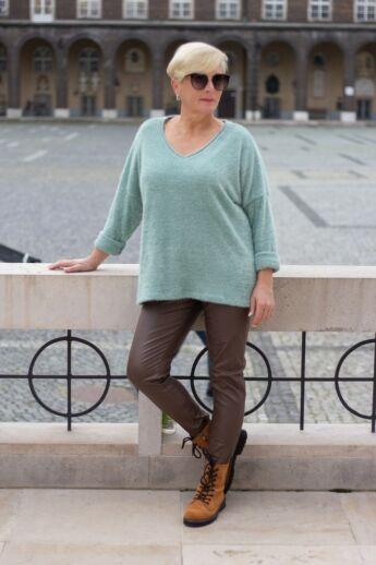 Norina puha kötött pulcsi, zöld színben
