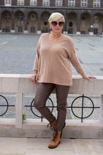 Norina puha kötött pulcsi, camel színben
