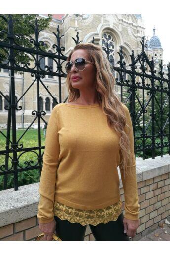Tifany mustárszínű kötött pulcsi