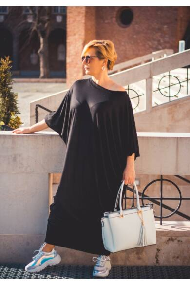Zoé fekete színű laza stílusú pamut ruha