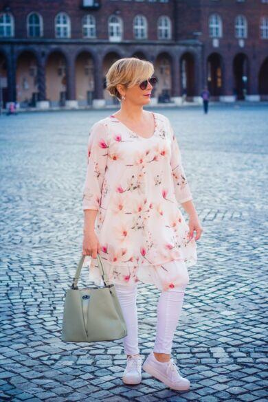 Monalisa fehér alapon virágos muszlin tunika-ruha
