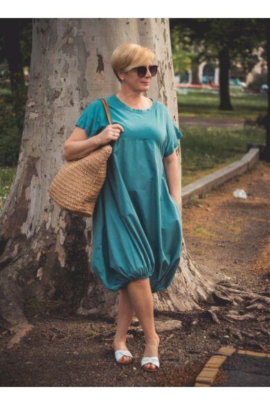 Norina zöldszínű buborék fazonú pamut-vászon ruha