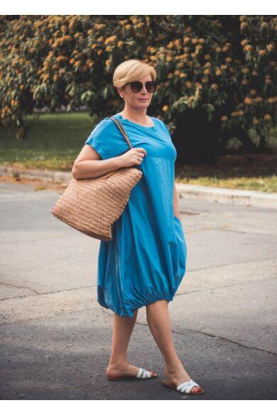 Norina kékszínű buborék fazonú pamut-vászon ruha