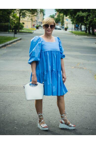 Olivia kék színű fodros pamut-vászon ruha