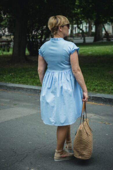 Világoskék  pamut-vászon ruha