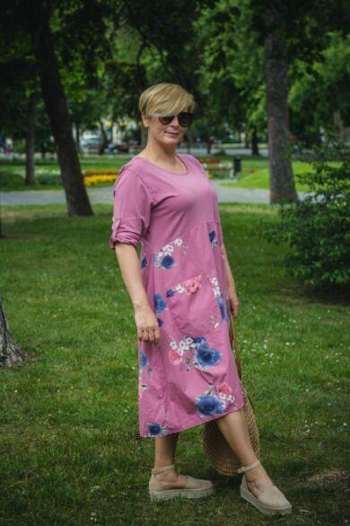 Paola laza stílusú lazacszínű pamut virágos ruha